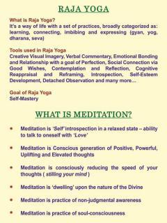 Raj Yoga - What is Meditation?